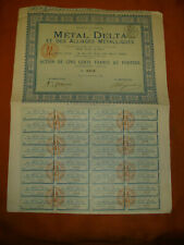 RARE FAIBLE EMISSION LOT 2 ACTION 500FR METAL DELTA  ALLIAGES METALLIQUES 1889