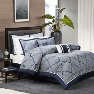 MADISON PARK Cal King Comforter Set 8p GARRISON NAVY BLUE PAISLEY gray