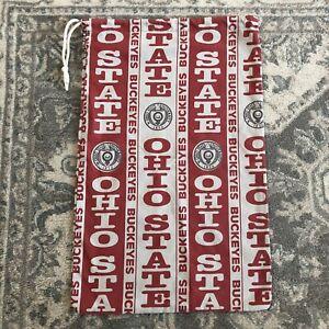 Vintage Ohio State University Buckeyes Small Bag OSU White Red Drawstring USA