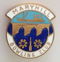 Maryhill Bowling Club Badge Pin Rare Vintage UK (M14)
