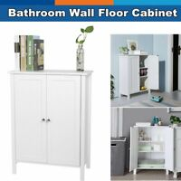 Bathroom Wall Floor Cabinet Kitchen Storage Shelf Cupboard Organizer White