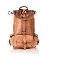 Genuine Finest Leather Men's Backpack Travel Brown Vintage Bag laptop Rusksack