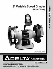 """Delta GR450 Shopmaster  8"""" Variable Speed Grinder Instruction Manual"""