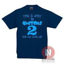 Sorprendente Dos Años Niño Camiseta 1-4 Años Niños Niño 2nd Cumpleaños Camiseta