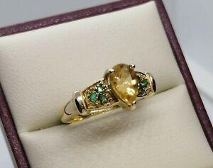 Divine 9 Carat Gold Pear Shaped Citrine & Spinels Dress Ring Size O