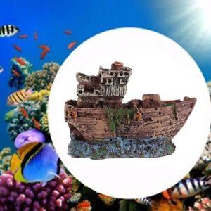 Wreck Ship Boat Aquarium Decor Fairy Mermaid Resin Fish Tank Ornament Boat