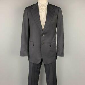 GUCCI Size US 42 / IT 52 Regular Black Stripe Wool Notch Lapel Suit