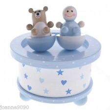 GISELA GRAHAM BLUE WOODEN MUSIC BOX BABY BOY AND BEAR NEWBORN RETRO BEDROOM GIFT