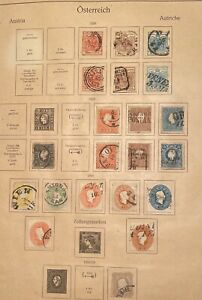 Austria stamps, From old KABE album page, 1850-1906
