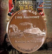 """Civil War """"Monitor vs Virginia"""" 1 oz .999 Copper Round Civil War Collection"""