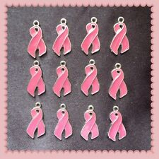 12 Enamel Breast Cancer Awareness Pink Ribbon Charms Jewelry Making R19