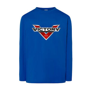 Motorcycle Victory Graphic Logo Printed Motorbike Tee Long Sleeve T-shirt