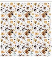 Kitchen Theme Pattern Shower Curtain Fabric Decor Set with Hooks 4 Sizes
