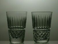 """WATERFORD CRYSTAL """"TRAMORE"""" CUT TUMBLERS SET OF 2 - 3 2/3"""" TALL"""