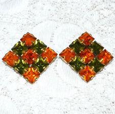 Stunning Vintage Orange-Green Rhinestone Clip-On Earrings  BB38*