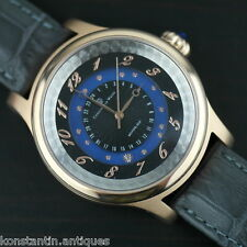 Gents Dual Time Zone Automatic Watch gilt Constantin Weisz Moving Sun Gem enamel