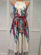 NWOT What's The Zeal Women's Dress in Flower Box Sz S Beige Floral Chic Retro