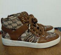 Michael Kors Womens High Top Shoe Sneaker, Size 7 Monogram and Brown Print, Gold