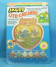 """Schlumpf """"Glasmalerei-Set"""" smurf lite catchers 289 Farben Pinsel AVALON 1983 MiB"""