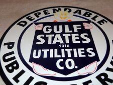 "VINTAGE REDDY KILOWATT GULF STATE UTILITY+ POWER 11 3/4"" METAL GASOLINE OIL SIGN"