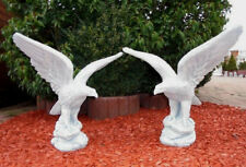 2 Stück Adler auf Felsen, Tierfiguren, Gartenfiguren, Steinguss, Gartendeko Set