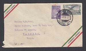 MEXICO 1929 AIRMAIL PS COVER TUXPAN VERACRUZ TO MEXICO CITY #121 NUMERAL