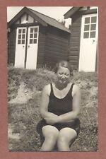 Shy Lady    Swimming Costume       c 1950s,         Beach Huts          RK811