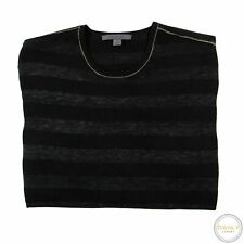 John Varvatos Black Grey Melange 100% Cashmere Striped Lightweight Sweater M