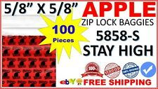 "5858 Apple Baggies Mini Ziplock 5/8"" Zip lock Bags Print Design (STAY HIGH 100)"