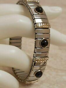 Evening Jewelry Swarovski Diamond Black Bracelet July Birthday 24k Gold Handmde