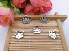 Wholesale 16pcs Tibet Silver Crown Charm Pendant Beaded Jewelry AA56