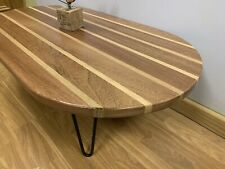Hand Made Solid Wood Sapele Oak coffee table Moder With Hairpin Legs