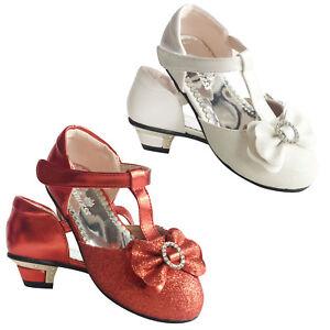 Girls kids Children Wedding Bridesmaid Party Sandals Low Heels 7-11