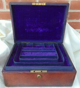 SAMPSON & MORDAN CO  LARGE ANTIQUE19th C TWO TRAY LEATHER BOUND JEWELLERY CASE