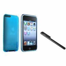 Clear Blue Con Circle TPU Case Skin+Black Stylus For iPod touch 2 3 G 3rd Gen