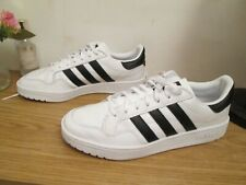 Mens Gents White Leather Adidas Team Court Shoes / Trainers in Size UK 8