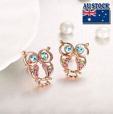 Wholesale 18K Rose Gold Filled Cubic Zircon Colorful  Lovely Owl Stud Earrings
