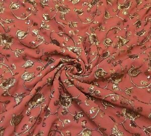 Red Indian Saree Women Vintage Georgette Floral Embroidery Heavy Sari MSI139