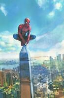 PRINT Spiderman Perched NYC Skyline Cityscape Comic Wall Art Painting 11x17