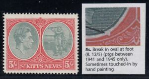 """St. Kitts-Nevis, SG 77bc, MHR """"Break in Oval at Foot - Repaired"""" variety"""