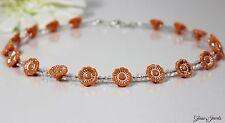 Glass Jewels Schöne Silber Kette Kinderkette Perlen Blüten Orange Acryl #M092