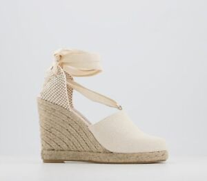 Womens Office Headline Espadrille Wedges Natural Canvas Heels