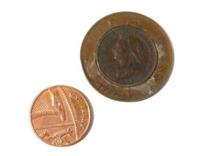 1921 1d One Penny  with Inset Victorian Farthing 1/4d TRICK COIN #F11 *