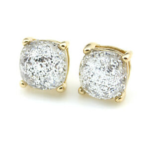 1 *1cm Glitter Square Stud Earrings for Women Classic Boxed Studs Jewelry Gifts
