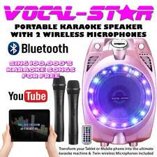 Vocal-Star Portable Pink Karaoke Machine Speaker 2 Wireless Mics & Bluetooth 60w