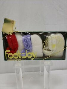Women Foot-Joy Roll Top Vintage Golf Socks Set of 3 White With Red/Purple/White