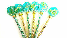 12 LOLLIPOPS WITH EDIBLE GOLD with BLING LOLLIPOP STICK - PERFECT WEDDING FAVORS