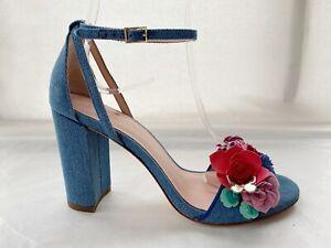 Kate Spade  Denim Blue Floral Block Heel Sandals UK 4.5 US 7