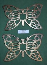 """2 Vintage Leonard Of Italy Silver Plated Silverplate Footed 10"""" Butterfly Trivet"""