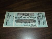1870's NORTH PENNSYLVANIA RAILROAD TICKET PHILADELPHIA, PA TO NEW YORK, NY